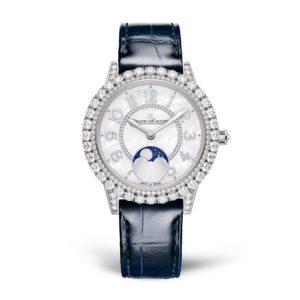 Weiß-dunkel Blaue Uhr mit Edelsteinen verziert, von JLC